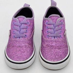 Vans Purple Glitter Elastic Lace Toddler Shoes 8